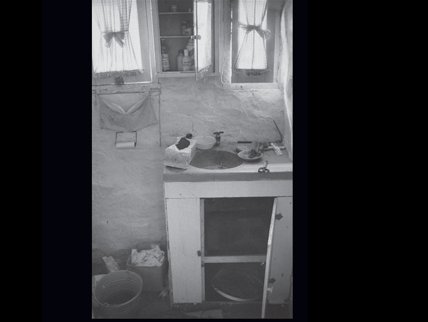 "The tiny bathroom sink cabinet where Manson tried to hide at Barker Ranch. When a lawman ordered him out, he opened the door and politely said, ""Hi."""