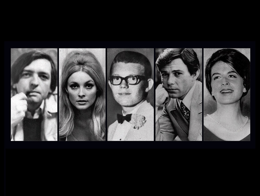 The five victims at the Tate residence: (from left) Voytek Frykowski, a friend of Roman Polanski's; Sharon Tate; Steven Parent, a delivery boy who happened by; Jay Sebring, a hairstylist; and Abigail Folger, Frykowski's girlfriend