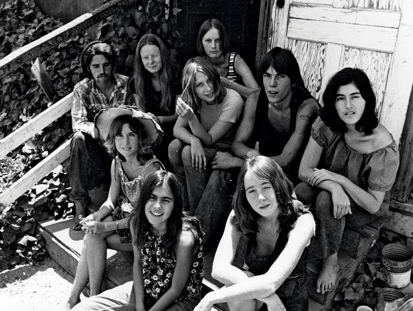 Some members and hangers-on of the Manson Family at the Spahn Ranch: (back row, from left) Danny DeCarlo, Jennifer Gentry, Catherine Gillies, Mary Theresa Brunner, Charles Lovett, and Catherine Share; (front row, from left) Sandra Good, Ruth Ann Moorehouse, and Lynette Fromme.