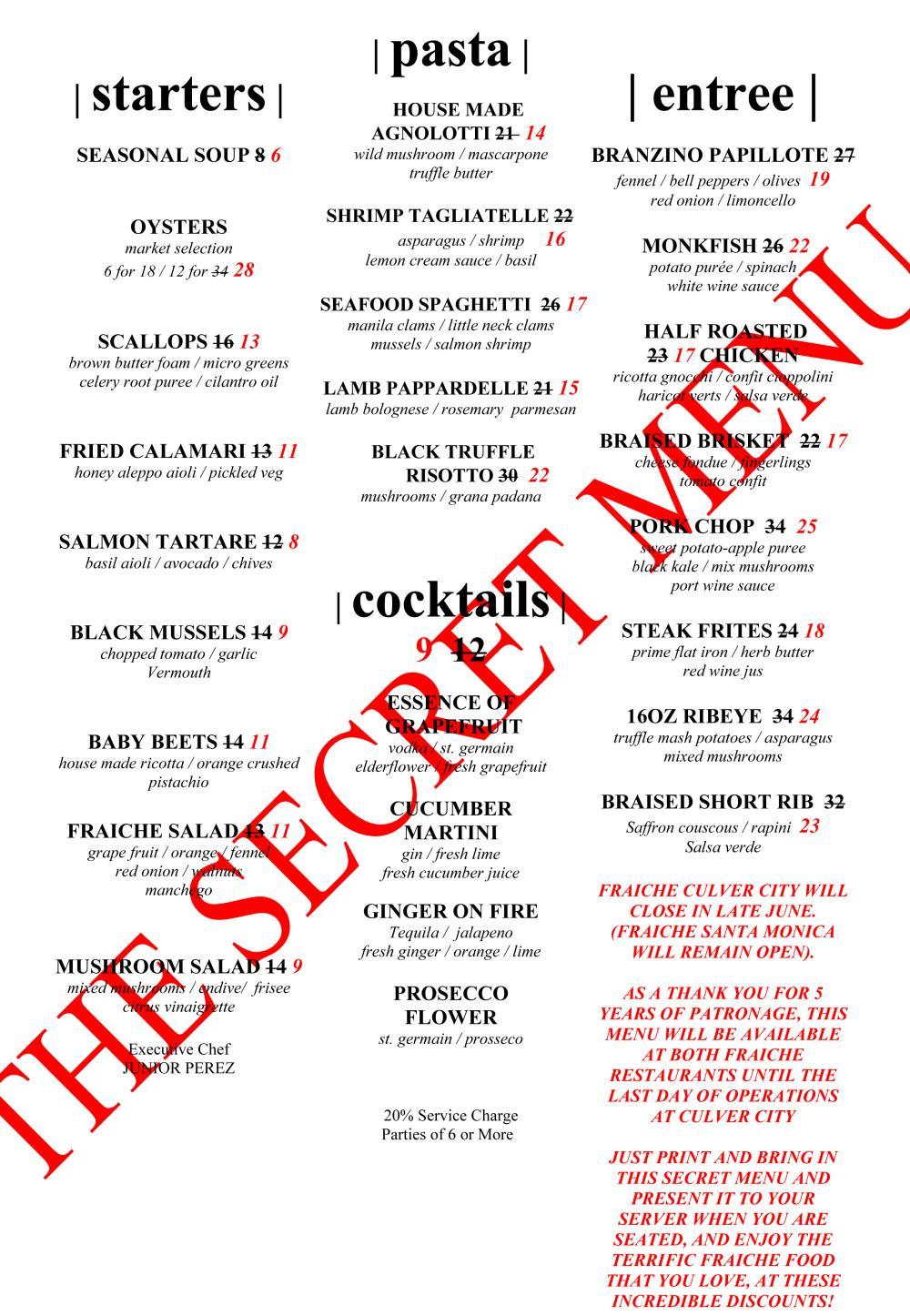 Culver City Fraîche to Close, Launches Secret Menu Los Angeles Magazine