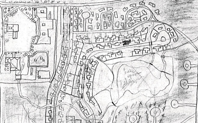 A hand-drawn map