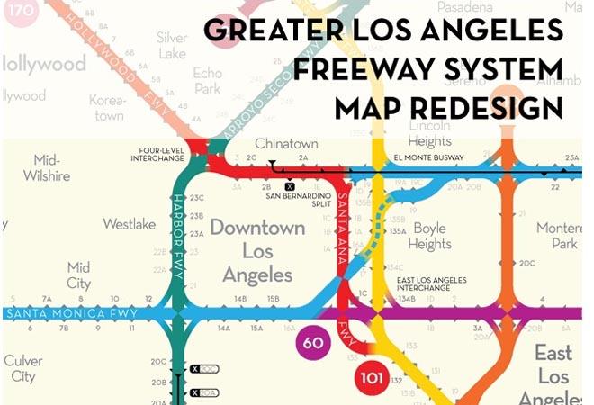 L.A. Freeway Fun Map Los Angeles Magazine on
