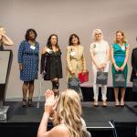 Editor-in-Chief Mary Melton introduces the 2014 L.A. Women honorees Ivory Freeman, Shamim Momin, Dr. Roberta Diaz Brinton, Rebecca Ninburg, Tara Roth, Adele Yellin, and Kathleen Kim