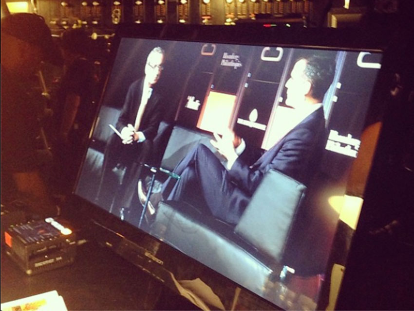 A backstage view of Eric Garcetti in conversation with The Atlantic's Ron Brownstein