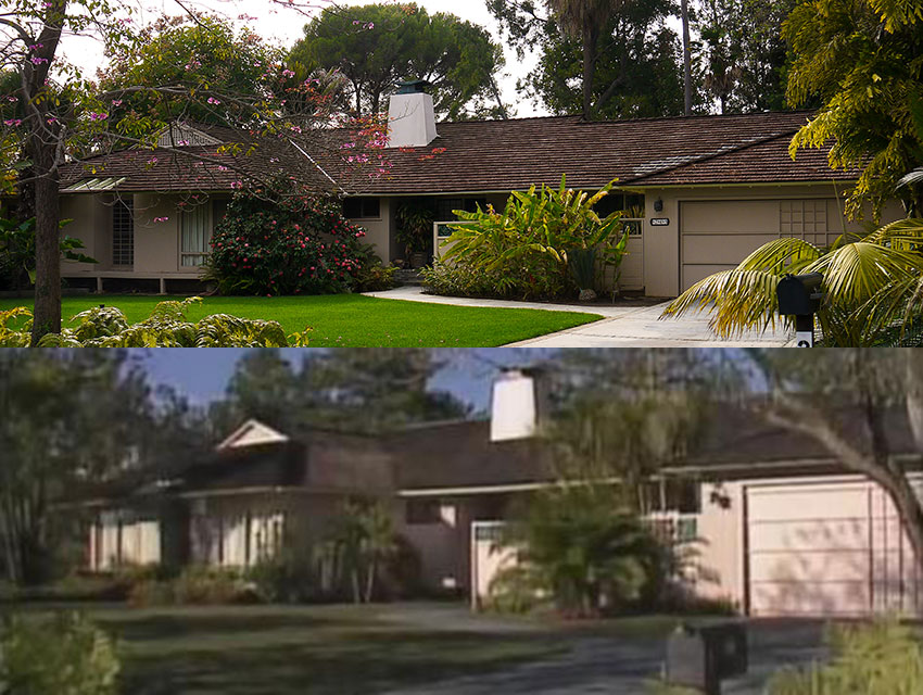 A photograph of the location taken by Lindsay Blake in February 2014 (top); a screen capture from The Golden Girls