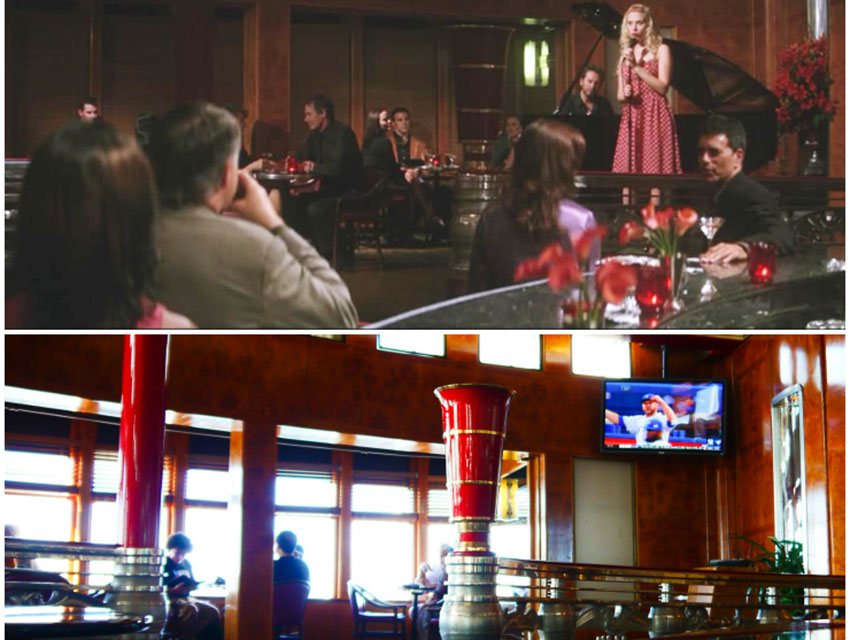 A screen capture from He's Just Not That Into You (top); a photograph of the Observation Bar taken in August 2014, courtesy of Lindsay Blake (bottom).
