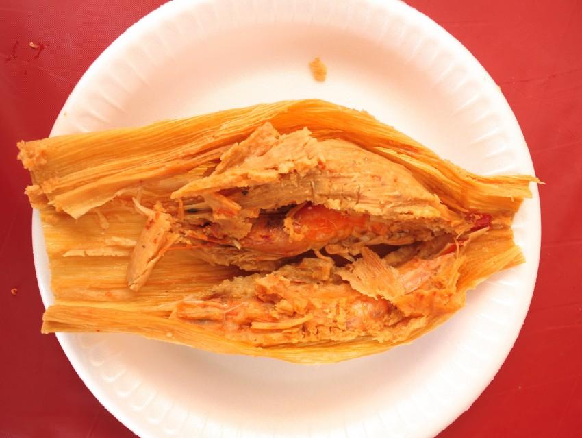 El Cristalazo's tamales barbones are filled with shrimp.