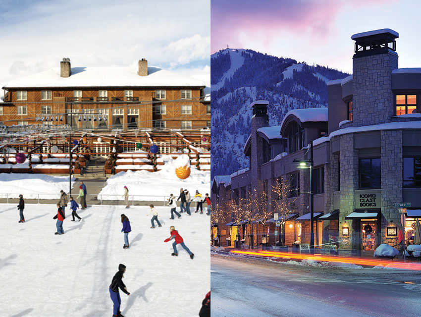 Skating at Sun Valley Lodge; a view of Mount Baldy from Ketchum's downtown