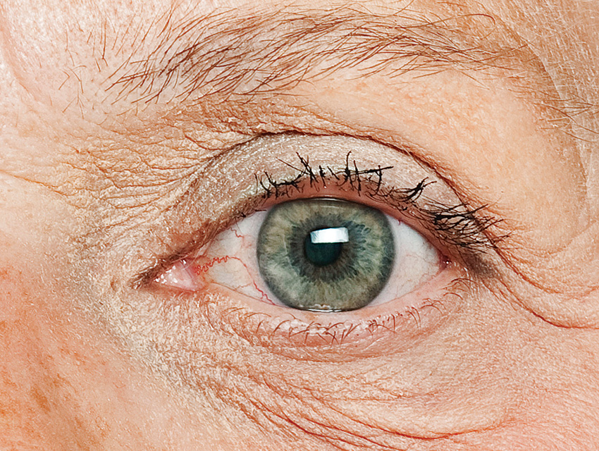 Close up of an old person's eye