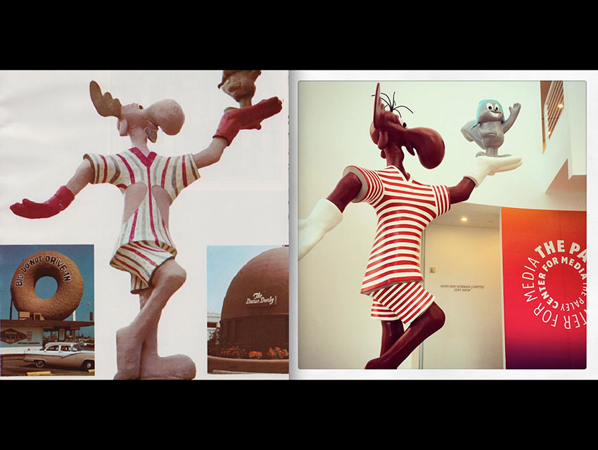Left: Bullwinkle donned a peekaboo swimsuit in 1970. Right: The restored statue at the Paley Center for Media