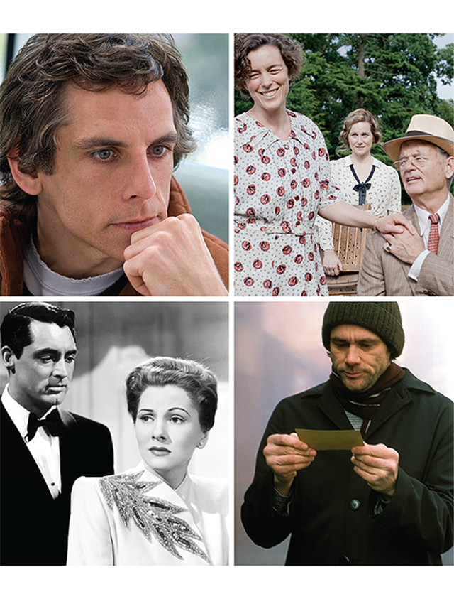 "Other films with scowling funnymen include (clockwise from top left) ""Greenberg,"" with Ben Stiller; ""Hyde Park on Hudson,"" with Bill Murray; ""Eternal Sunshine of the Spotless Mind,"" with Jim Carrey; and ""Suspicion,"" with Cary Grant"