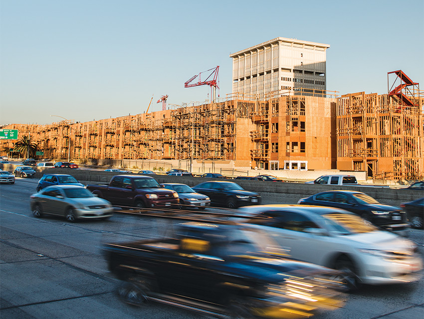 Freeway Adjacent: The Da Vinci apartments, photographed in October