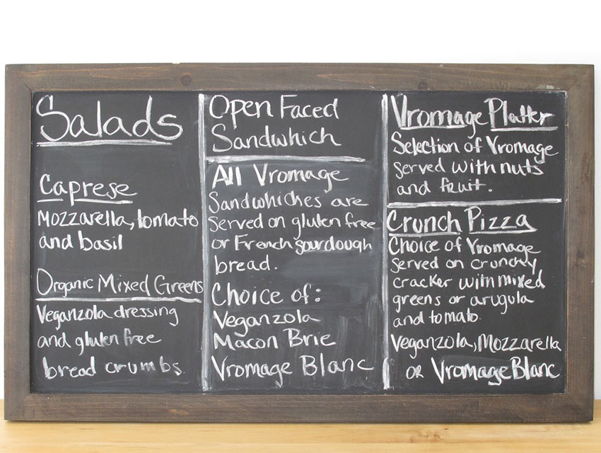 Vromage's menu