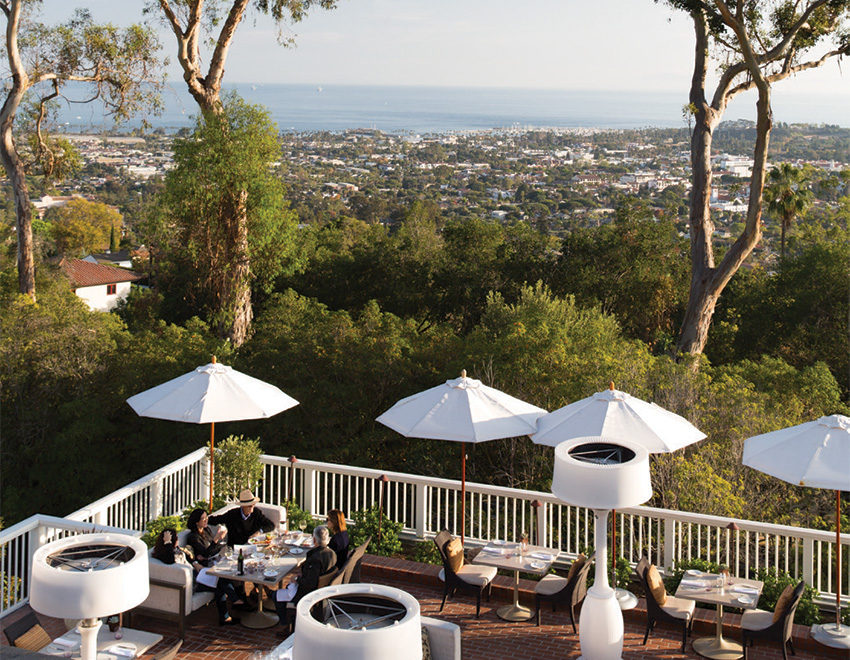 The terrace at the Belmond El Encanto hotel