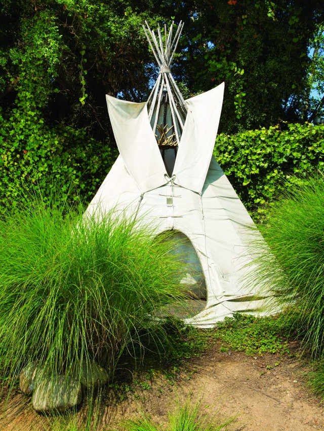 The tepee served as a hideaway for the couple's children when they were growing up.