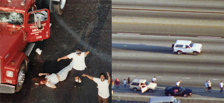 When news broke, Tur was often there first. In 1992, he hovered above Florence and Normandie avenues and captured the beauting of Reginald Denny (left); in 1994, he followed O.J, Simpson's Ford Bronco