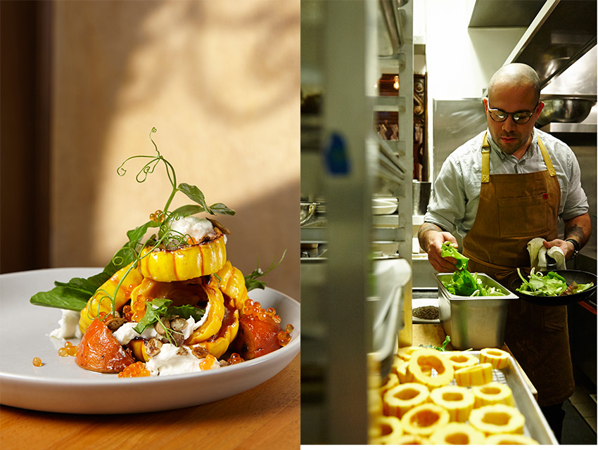 Reyes prepares his Delicata squash dish with persimmons, burrata, and trout roe