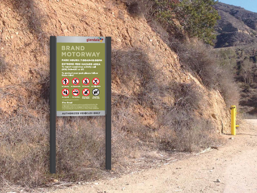 This sign is similar to what Marc Stirdivant anticipates at the trailheads, except with directional arrows and mileages to specific locations