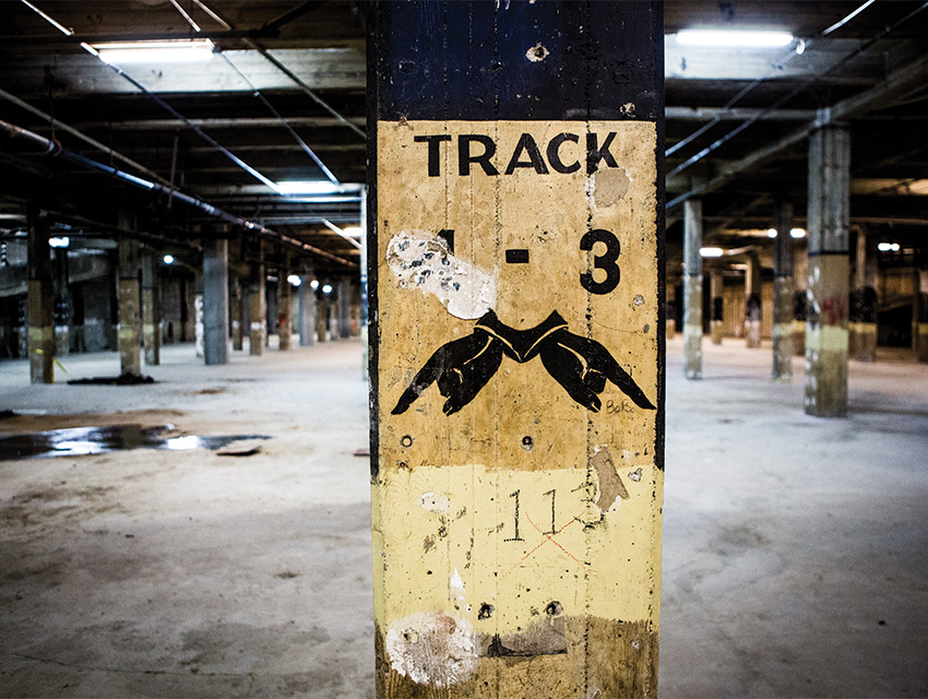 A relic of one of the six Pacific Electric subway passenger platforms remains