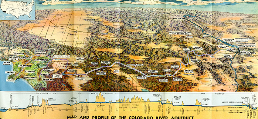 Map and Profile of the Colorado River Aqueduct, Metropolitan Water District of Southern California History and First Annual Report, 1938