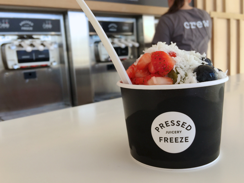 The Greens and Fruits Freeze flavors at Pressed Juicery can be topped with fresh fruit.