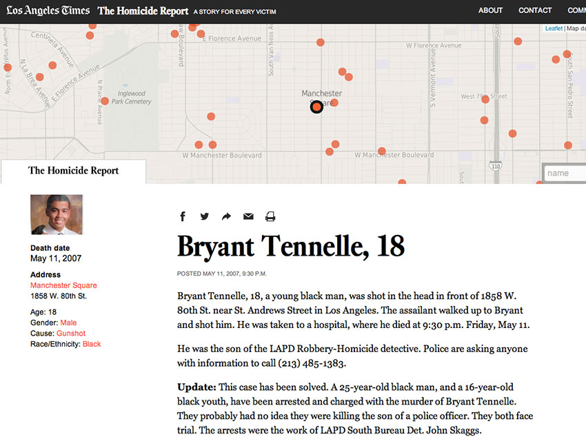 """Bryant Tennelle's homocide was reported on """"The Homocide Report"""" in May, 2007"""
