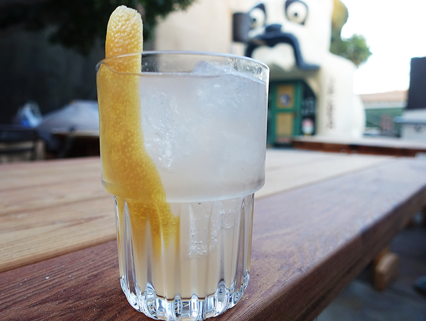 Enjoy a cocktail soda on the patio with a giant bulldog. Sentimental Lady: Ford's Gin, Giffard Pamplemousse, lemon, soda