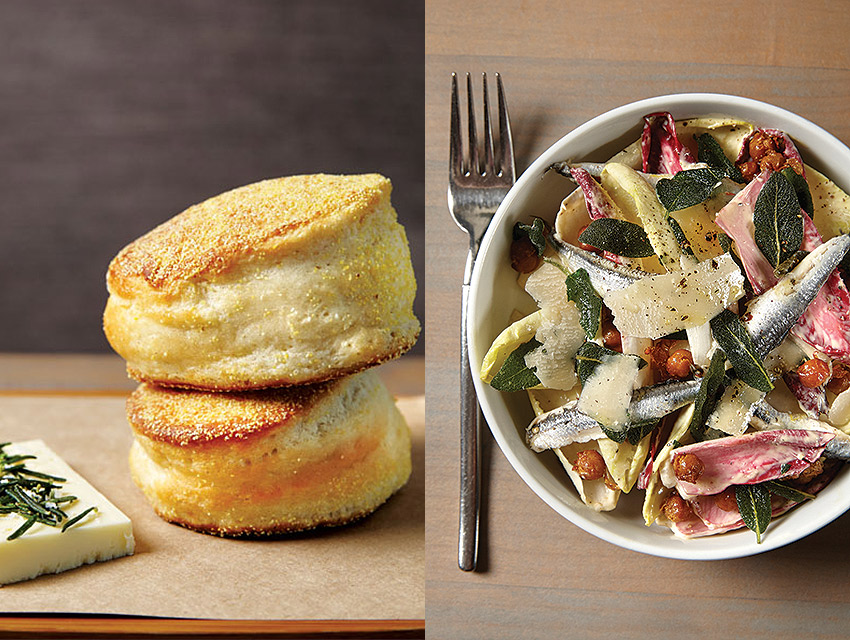 English muffins recast the biscuit, while endive with anchovies and fried chickpeas is an alternative to the Caesar