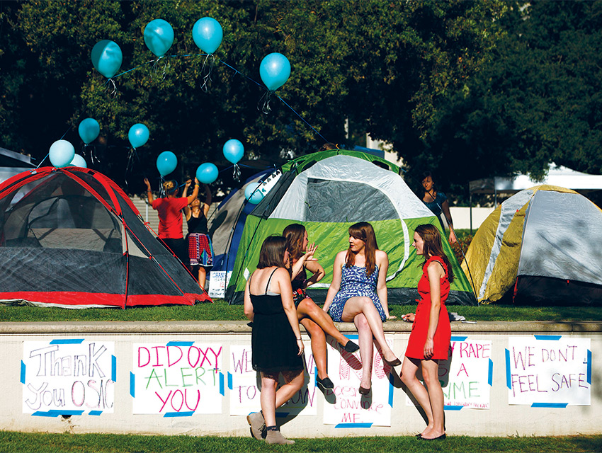 The Oxy Sexual Assault Coalition leads a camp out in April 2013, after the lawsuit and federal complaints against the school were announced
