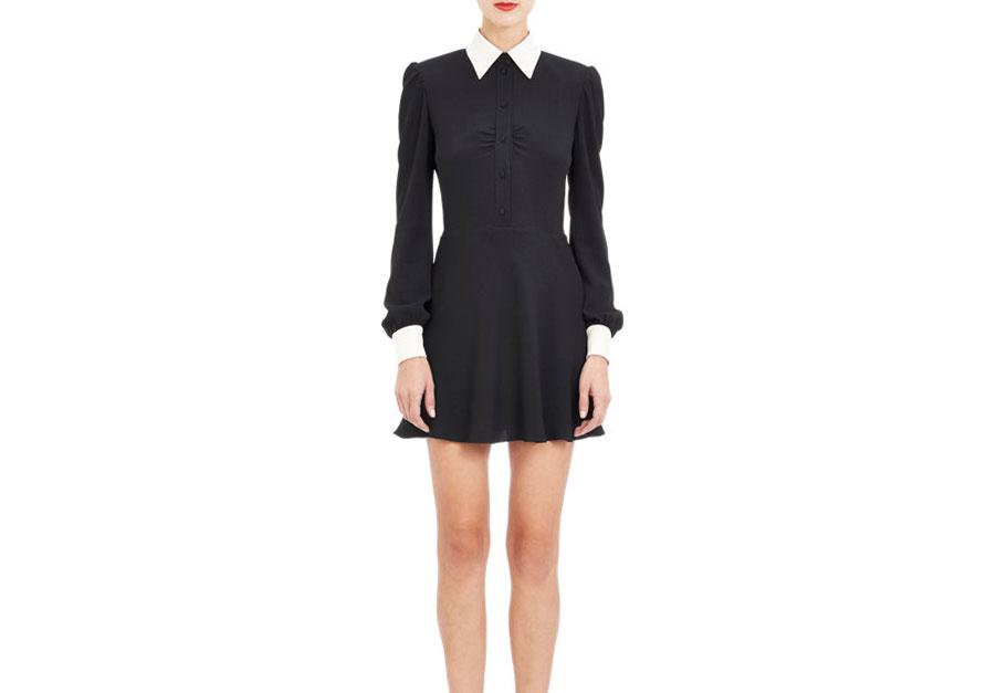 Saint Laurent Contrast Crepe Shirtdress, $2,690