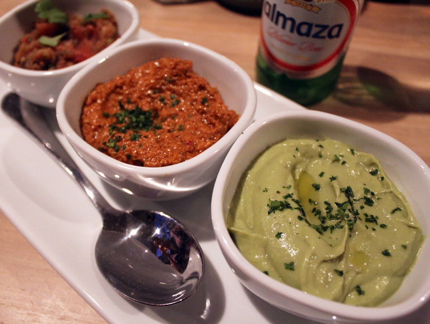 The mezze trio is a must at Momed---don't miss the avocado hummus.