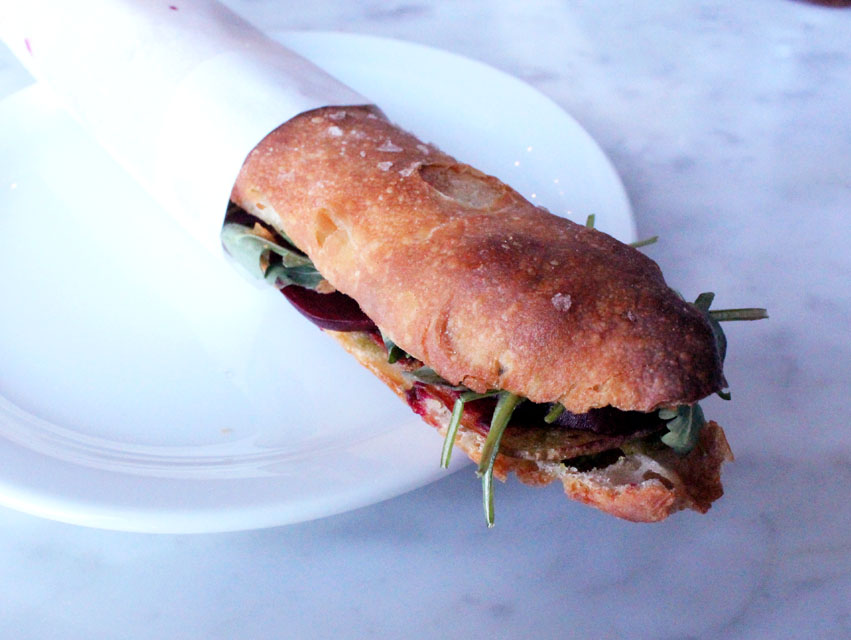 The marinated beet sandwich from Proof Bakery.