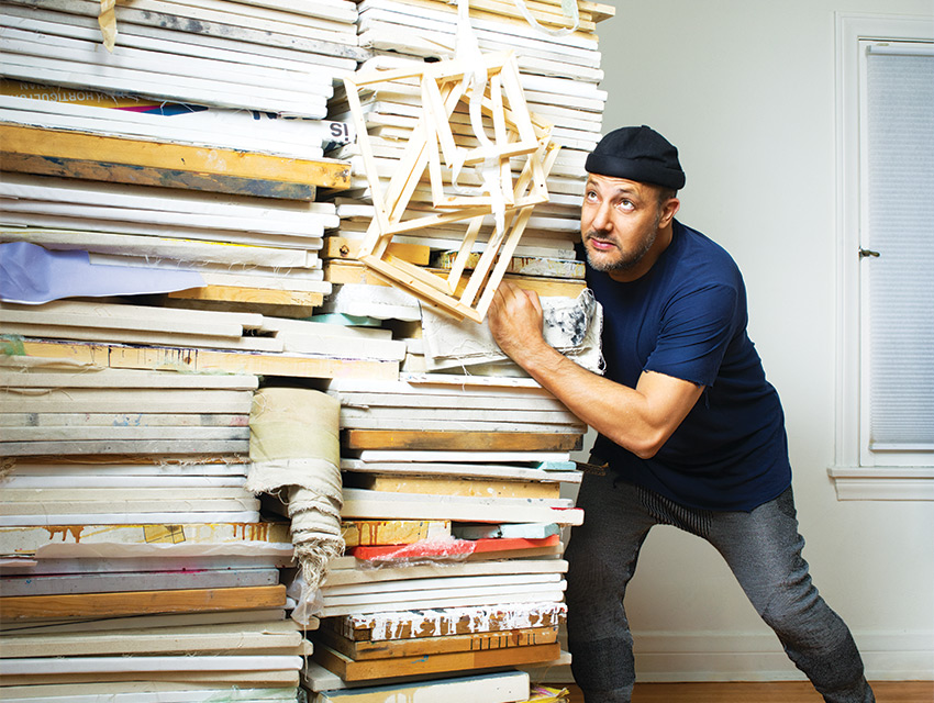 Simchowitz with Untitled stack by Zachary Armstrong