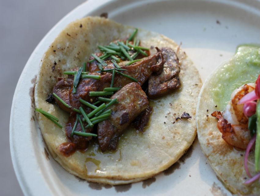 Guerrilla Tacos' Wes Avila serves foie gras tacos from a food truck.