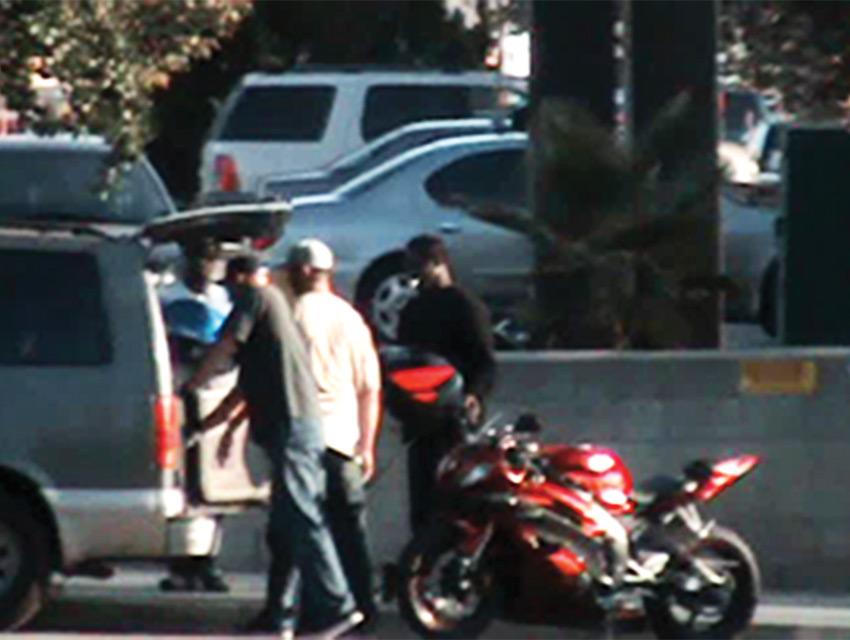 Rubber meets the road. The undercover CHP investigators purchase two stolen motorcycles from the suspects