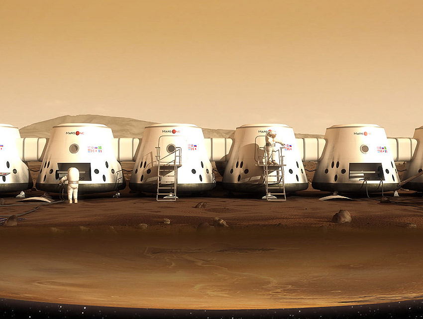A rendering of the Mars One habitat.
