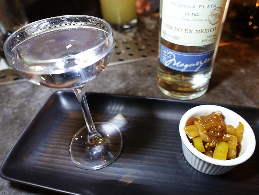 Tequila Ocho Blanco with apricot, apple, Bing cherry mostardo di frutta