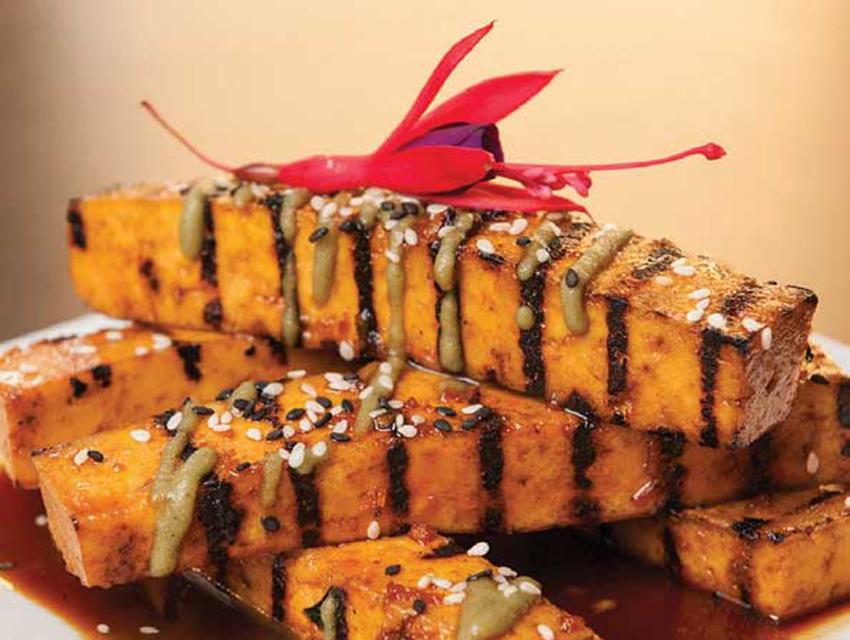 Tamari-maple-glazed tofu from Ravens at the Stanford Inn