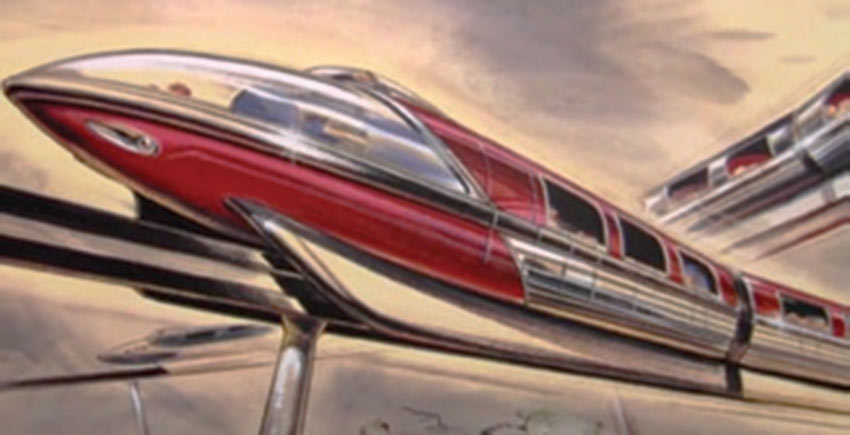 """""""The first Monorail in the Western hemisphere is still a big icon. Earlier ones looked like a loaf of bread on a stick. I made it sleek and graceful, like a Buck Rogers rocket ship."""""""