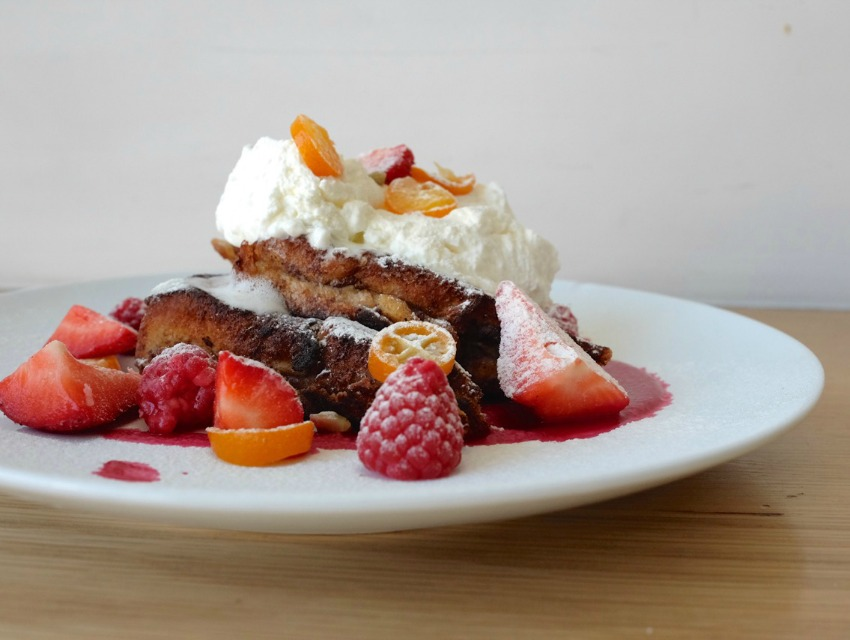 This fruit-laden Freedom Toast is an entree option on Fundamental L.A.'s $25 Easter brunch menu.