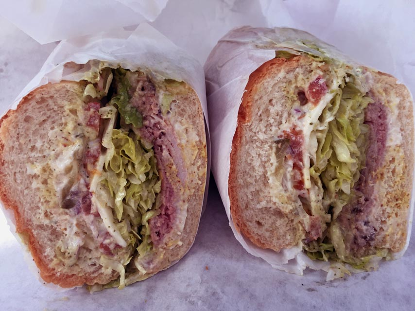 The Lincoln Park Ave. is a huge sandwich stuffed with meat and cheese.
