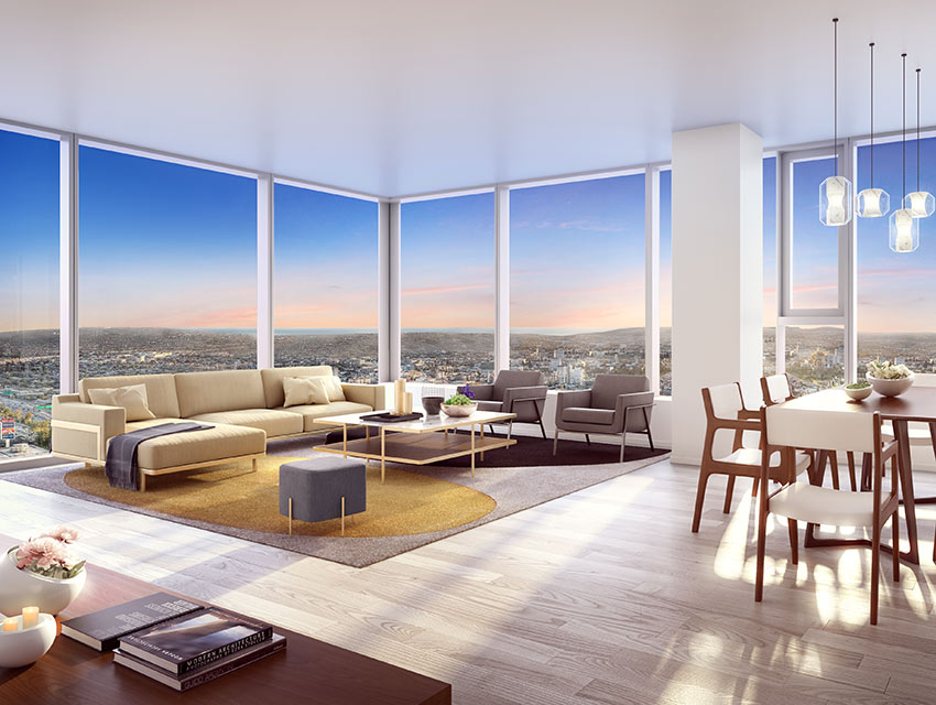 see four glassy new high rises going up downtown los angeles magazine. Black Bedroom Furniture Sets. Home Design Ideas
