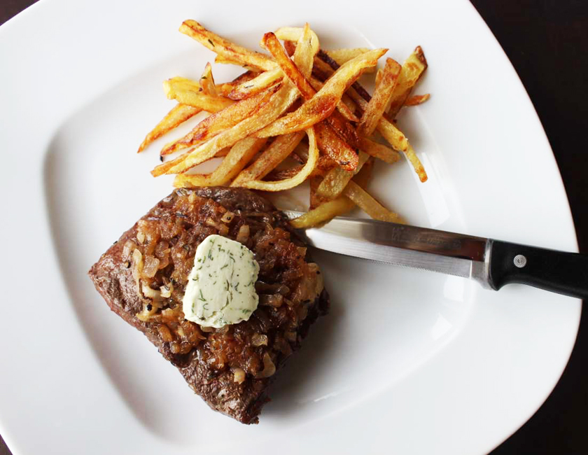 Recipe: Bouchon's Steak Frites with Caramelized Shallots and