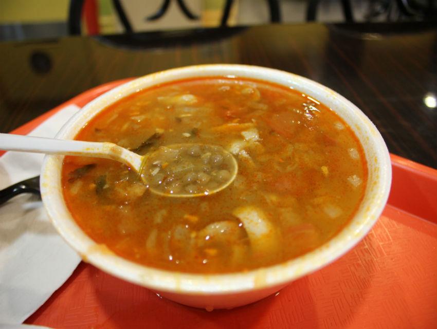 Guino serves an excellent bowl of lentejas norteñas, a hearty soup from Torreon, Coahuila.
