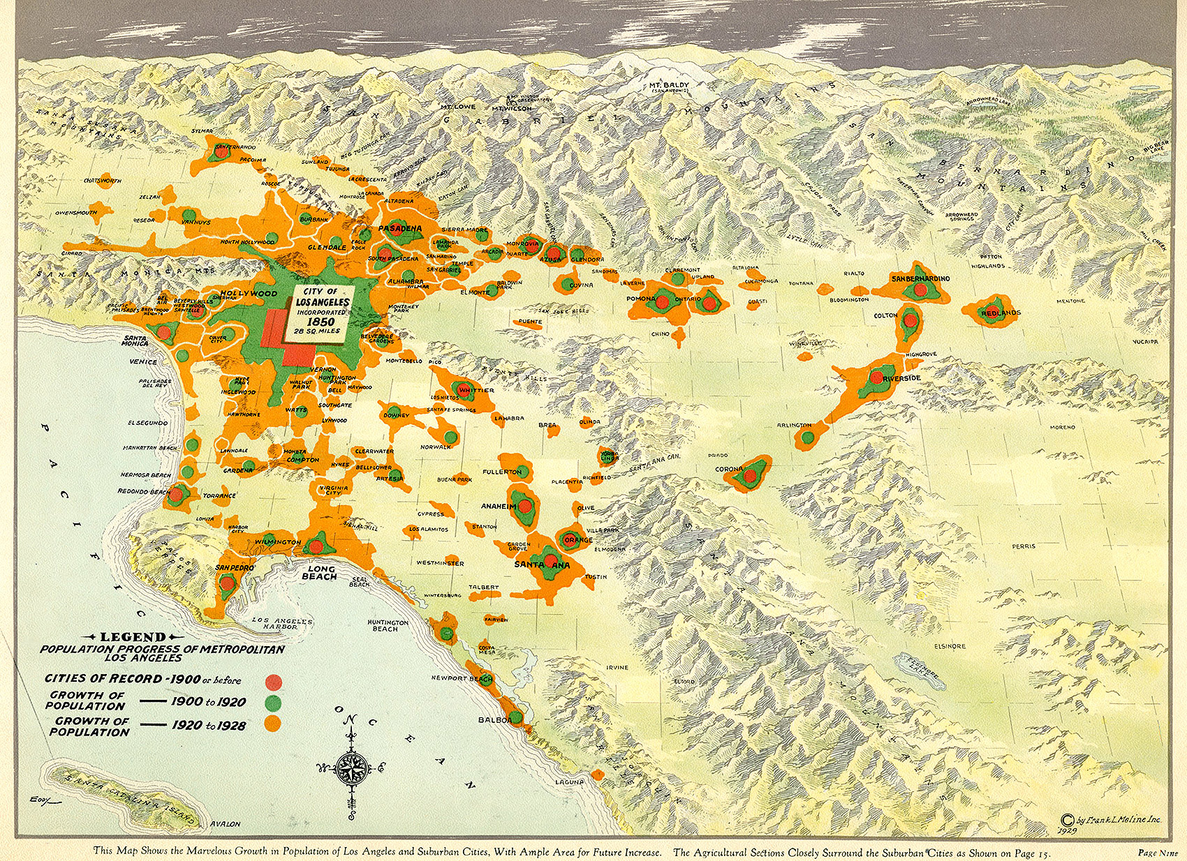 Citydig This 1929 Map Tracks Las Population Boom At The Turn Of - Us-map-la