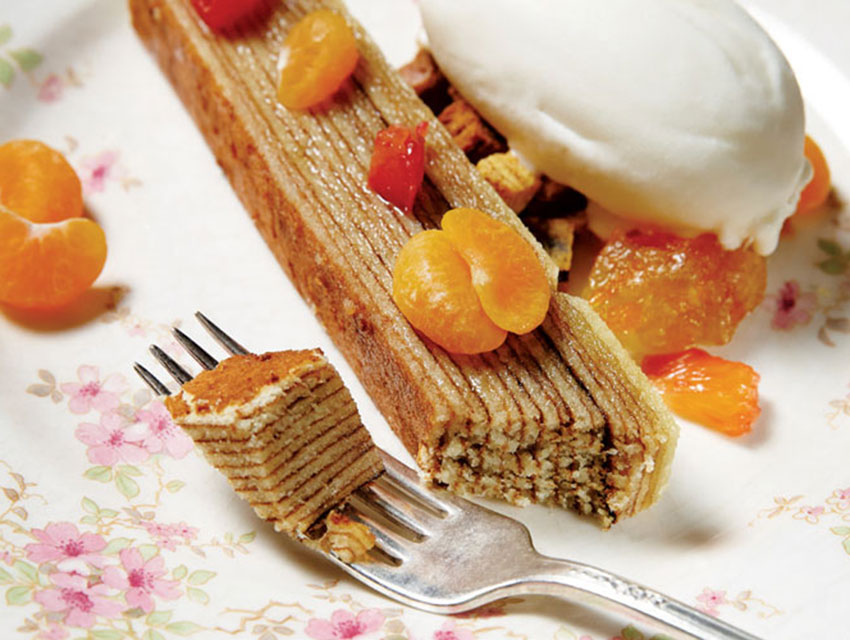 Baumkuchen, with citrus marmalade, citrus-leaf frozn yogurt, and tangerine segments