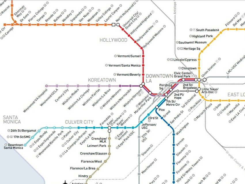 Redline Metro Map Los Angeles.See How The Metro Map Will Look In A Decade Los Angeles Magazine