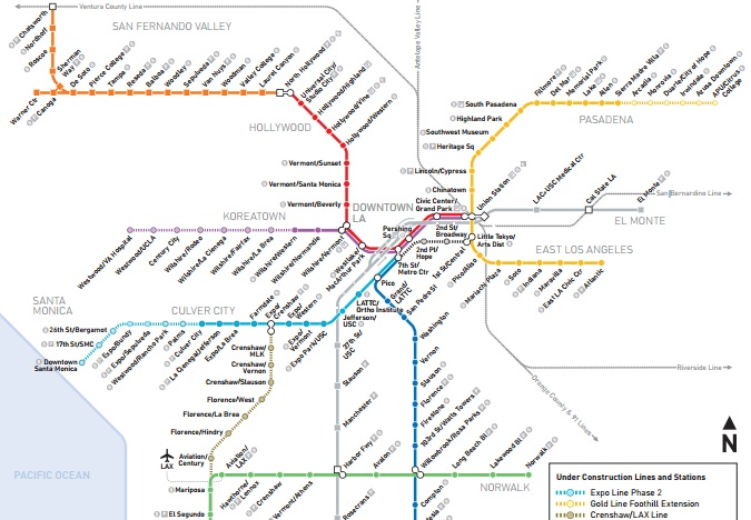 Los Angeles Subway Map 2016.See How The Metro Map Will Look In A Decade Los Angeles Magazine