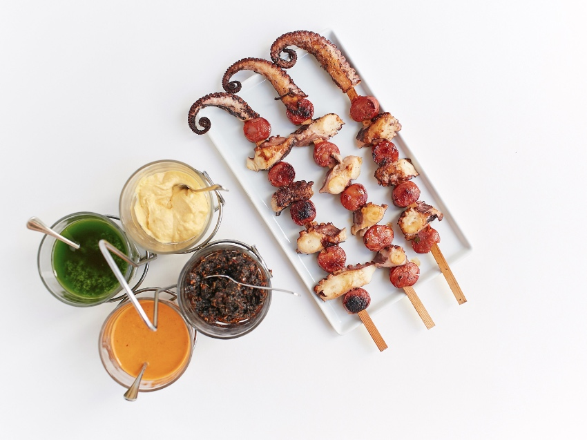 Chorizo and Octopus Skewers