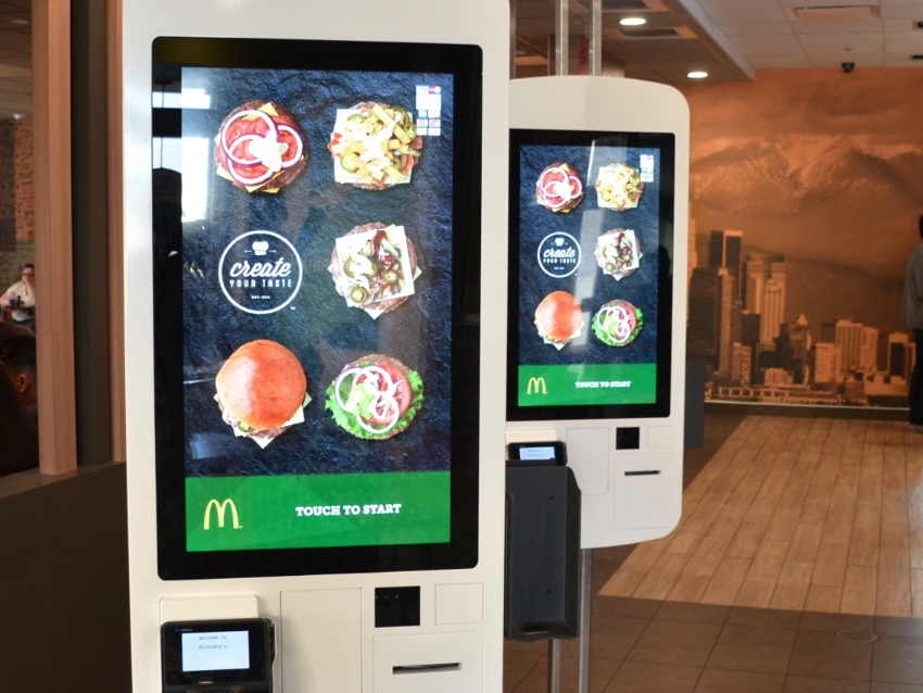 Kiosks are equipped with a touch screen display of options